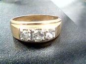 14K Y/G 3 ZC STONES Synthetic Cubic Zirconia Gent's Stone Ring ZIRCON